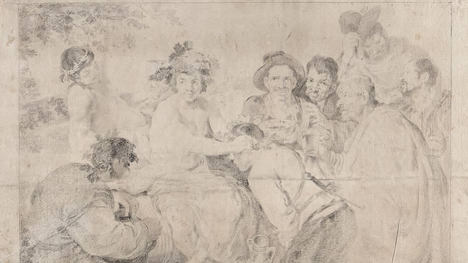 """""""Los borrachos"""", o """"El triunfo de Baco"""" 1778. Goya. Lápiz negro sobre papel verjurado, 322 x 436 mm. Forma parte de la serie Pinturas de Velázquez [dibujo] que realizó Francisco de Goya."""