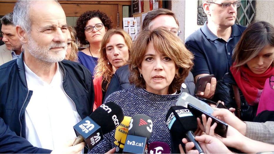 La ministra de Justicia, Dolores Delgado, hace un llamado al presidente de la Generalitat. Quim Torra, para que consiga evitar la violencia radical/@socialistes_cat