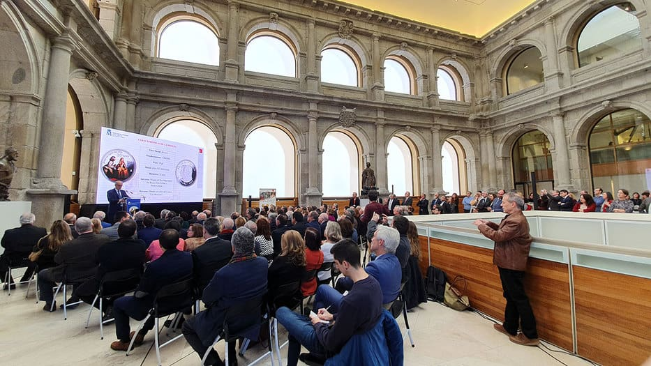 El claustro del Museo del Prado fue escenario para la presentación de la moneda conmemorativa del bicentenario de la pinacoteca/FNMT-RCM,