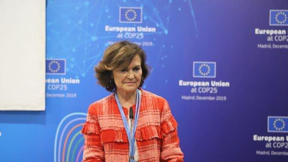 """La vicepresidenta del Gobierno, Carmen Calvo, afirma que """"nada ocurrirá sin nosotras, sin el diagnóstico y el empoderamiento de las mujeres en la agenda contra el cambio climático"""