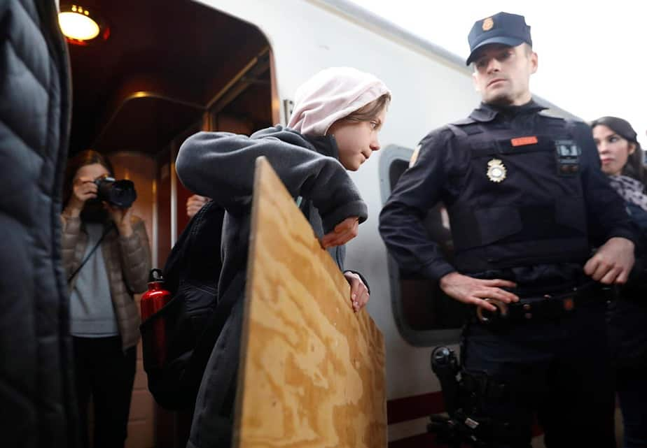 La activista del cambio climático Greta Thunberg a su llegada a Madrid el 6 de diciembre de 2019. Foto: Rafael Marchante