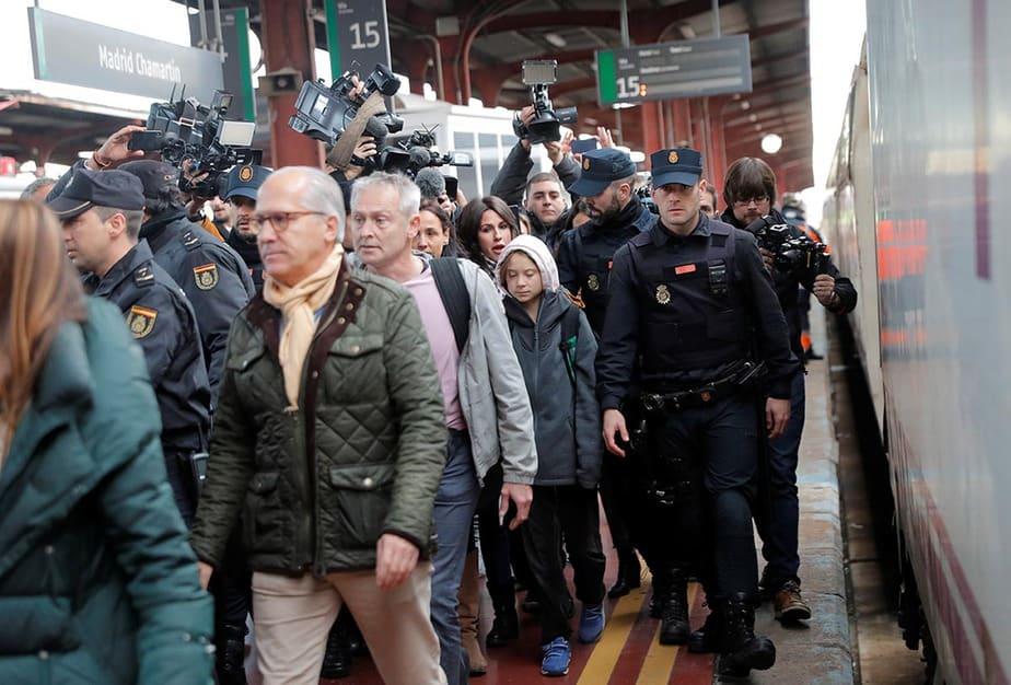 La activista del cambio climático Greta Thunberg a su llegada a Madrid el 6 de diciembre de 2019.