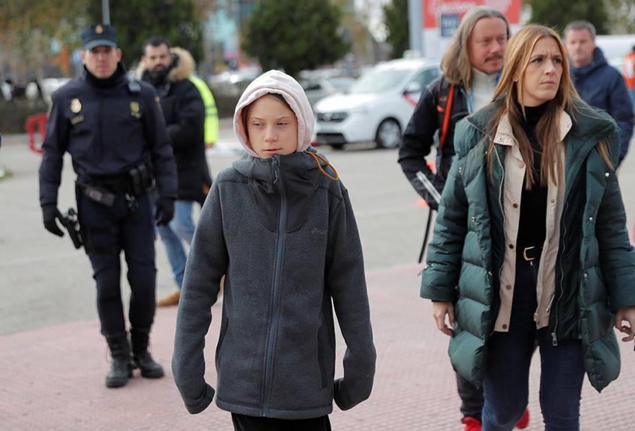Greta Thunberg a su llegada a IFEMA, donde se celebra la COP25. Foto: Juan Medina