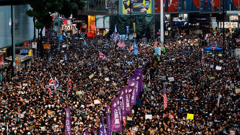 El centro de Hong Kong fue el escenario de una masiva protesta