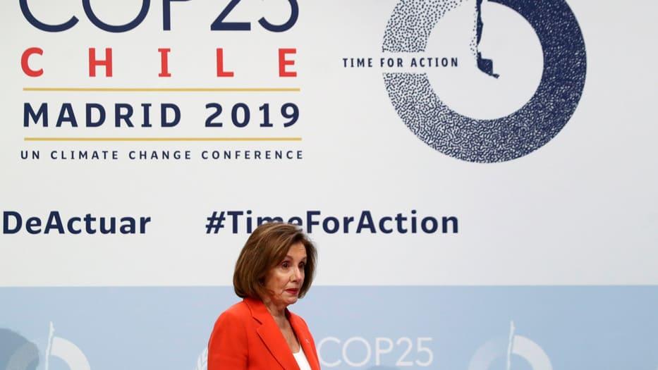 La líder demócrata también se reunió con Pedro Sánchez en el marco de la COP25