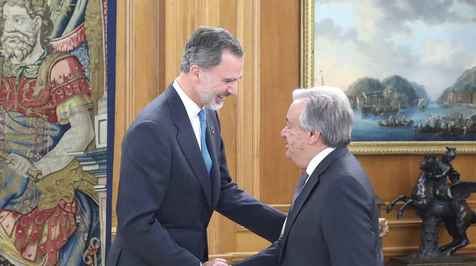 En el marco de la COP25, el Rey de España recibió al Secretario General de la ONU, António Guterres