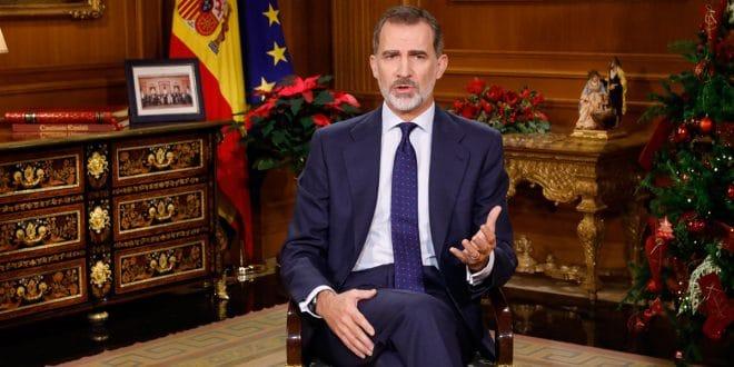El rey, Felipe VI, da su tradicional discurso de Navidad en el año 2019/ @Casareal