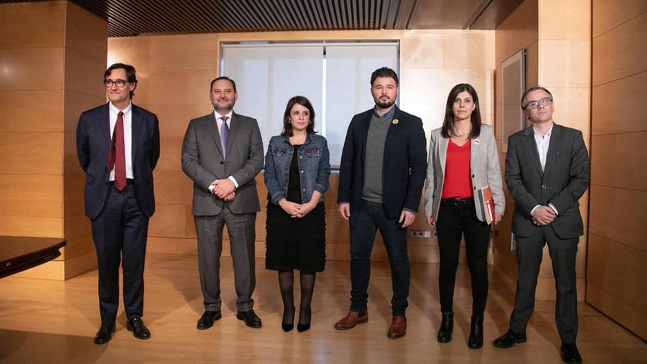 Los negociadores del PSOE y ERC (Foto: PSOE)