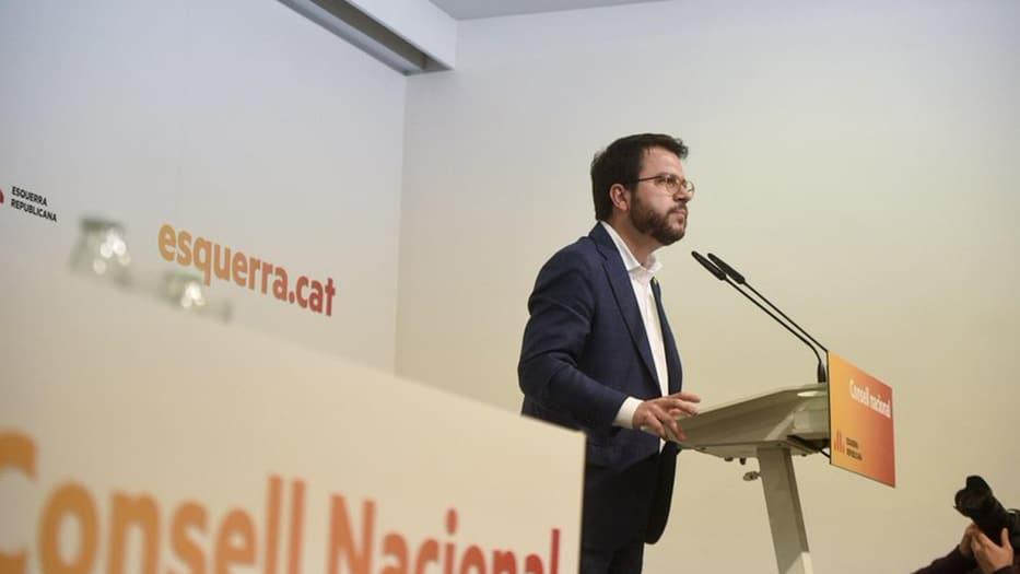 El coordinador de ERC, Pere Aragonés habla después del Consejo Nacional del partido