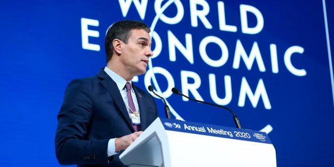 """Sánchez prometió en Davos """"rigor fiscal y sólida gestión de cuentas públicas"""""""
