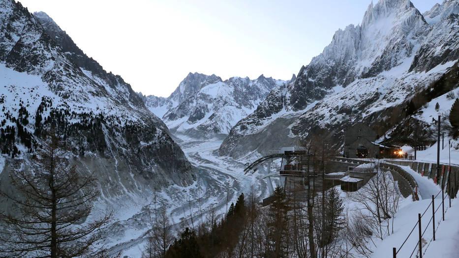Macron visitó el Mont Blanc