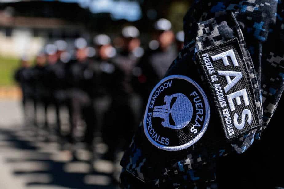 Los uniformes negros, el color de la muerte y el luto, llevan como insignia una calavera