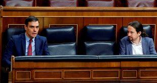 El presidente Pedro Sánchez y el vicepresidente segundo, Pablo Iglesias, al frente del primer gobierno de coalición de la historia de España