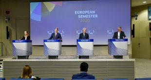 Los comisarios europeos dan una conferencia de prensa conjunta sobre el Semestre Europeo 2020, en la sede de la UE en Bruselas, Bélgica, 20 de mayo de 2020. John Thys / Pool a través de REUTERS