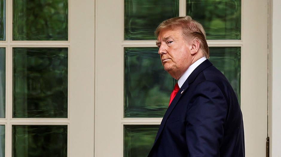 El presidente Donald Trump después de su rueda de prensa este viernes 29 de mayo en la Casa Blanca, en Washington