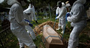 Sepultureros con trajes protectores entierran el ataúd de Manuel Farías, de 70 años, quien murió por coronavirus (COVID-19), en el cementerio Recanto da Paz, en Breves, al suroeste de la isla de Marajo en el estado de Pará, Brasil, el 7 de junio. 2020. REUTERS / Ueslei Marcelino