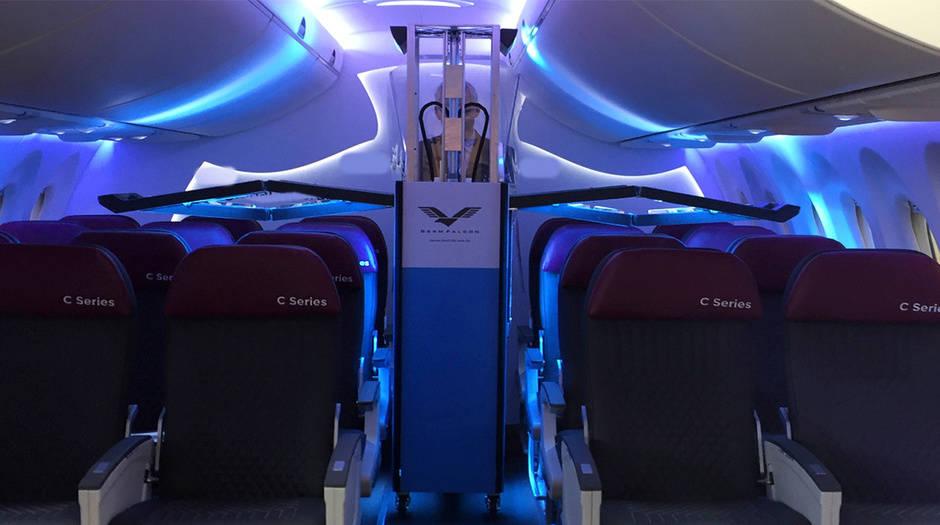 Un dispositivo usa luz ultravioleta para detectar gérmenes y desinfectar aviones. Cortesía de Dimer UVC Innovations GermFalcon/Vía REUTERS