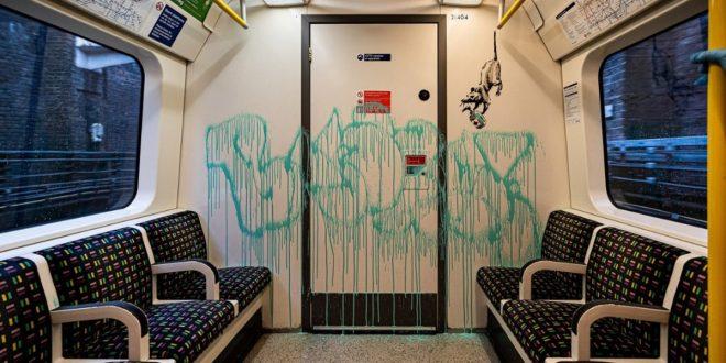 Bansky llenó el metro de Londres de ratoncillos con mascarillas