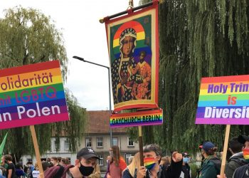 Frankfurt (Oder) in Germany and Poland's Slubice celebrated their first ever joint Pride on Saturday 5th September. Picture taken on September 5, 2020. Thomson Reuters Foundation/Hugo Greenhalgh