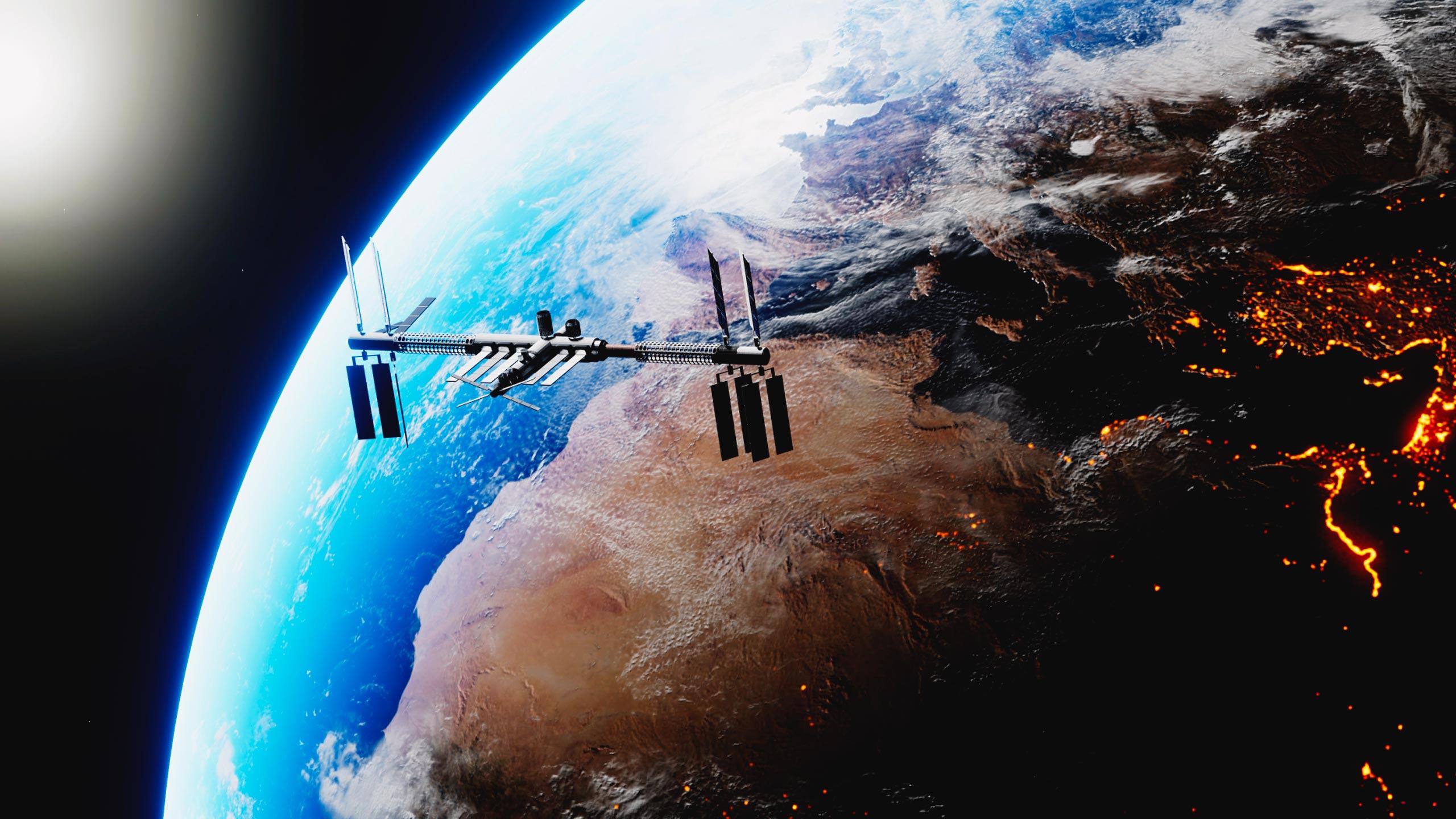 La Estación Espacial Internacional es un centro de investigación en la órbita terrestre, cuya administración, gestión y desarrollo están a cargo de la cooperación internacional.