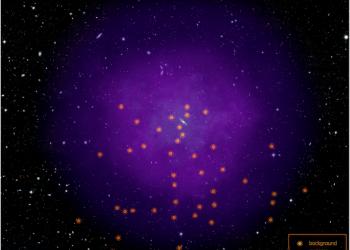 La imagen muestra la ubicación de los 43 quásares que los científicos usaron para estudiar el halo gaseoso de Andrómeda. Estos quásares, núcleos distantes y muy brillantes de galaxias activas, alimentadas por agujeros negros,   están dispersos, y muy por detrás del halo. Esto les permite a los científicos estudiar muchas regiones. Al ver a través del inmenso halo la luz de los quásares, el equipo observó cómo el halo la absorbe y cómo esa absorción cambia en diferentes regiones. Al rastrear la absorción de luz que viene de los quásares de fondo, los científicos pueden estudiar el material del halo. Imagen: NASA, ESA y E. Wheatly (STSCL)