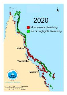 Mapa del estado actual de la Gran Barrera de coral / ARC Centre of Excellence for Coral Reef Studies