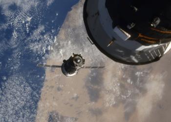 Toda la operación que va desde el lanzamiento hasta el acoplamiento de la nave espacial Soyuz MS-17 en la Estación Espacial Internacional duró 3 horas y 3 minutos, lo que fue celebrado como un récord. Participaron astronautas de Estados Unidos y Rusia. / Foto: agencia espacial rusa Roscosmos