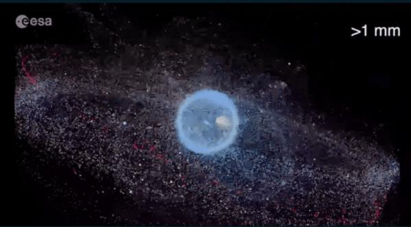 Distribución de la basura espacial representada por la ESA